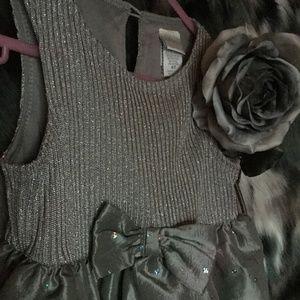 GRAY METALLIC FORMAL/ HOLIDAY PARTY GIRLS DRESS